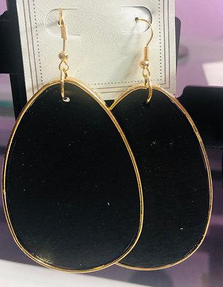 Large Black, wooden earrings W/gold trim