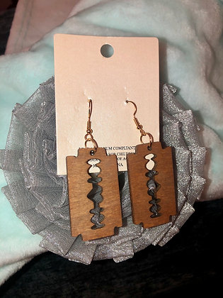 Brown, razor style, wooden earrings W/heart.