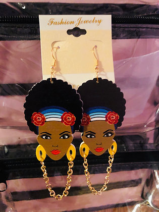 Yellow hanging earrings with gold chain