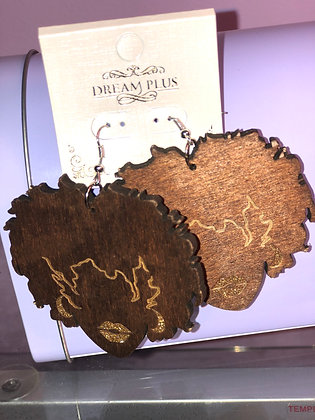 Dark wooden earrings with Glitter accents-fish hook backing