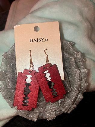 Red razor theme earrings W/heart.