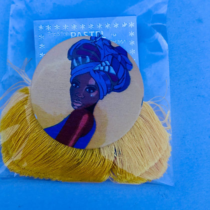 Queen head wrap earrings with yellow fringe