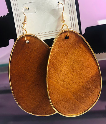 Large Lighter Brown, wooden earrings W/Gold trim