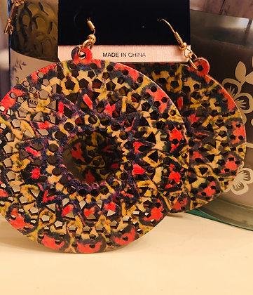 Reddish/Orange Mosaic motif  Circle earrings W/fish hook backing