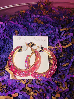 Pink confetti hoop earrings W/gold inlay