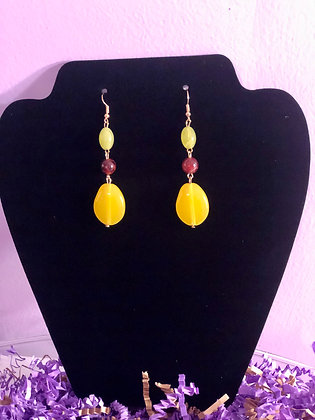 Lemon colored 3 tiered drop earrings