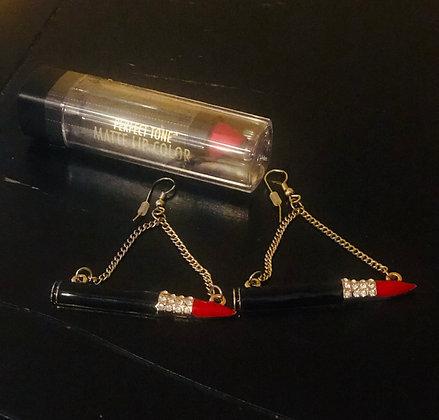 Red, Bling lipstick earrings!