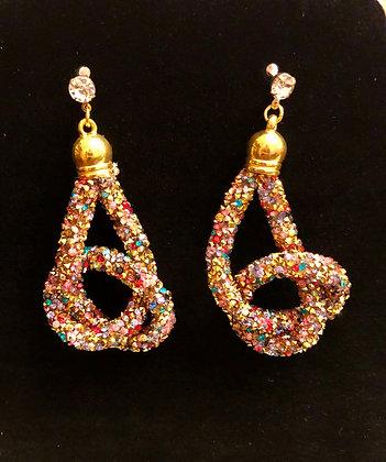 Multi-colored pretzel shaped earrings