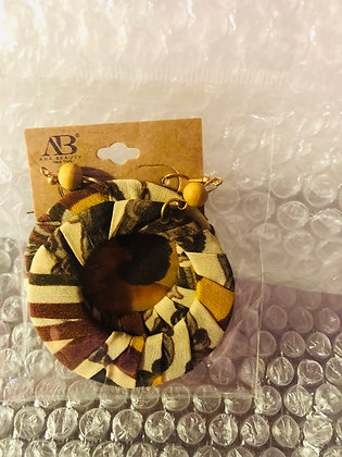 Brown and cream patterned earrings-circular