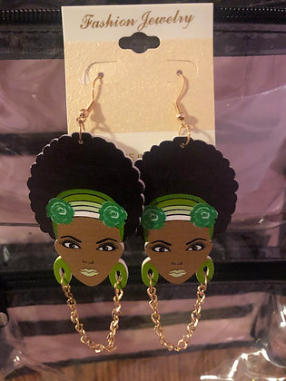 Green earrings with gold hanging chain
