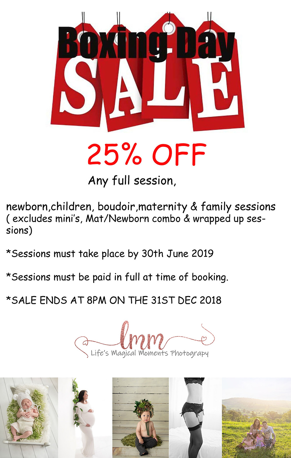 25% off full session not including mini's, wrappyed up Mat/newborn combo or products.