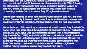 FB response to Dean Hamer and Bury AFC 18.11.2020