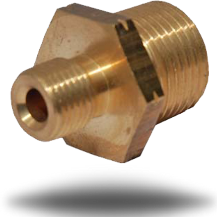 4022 3/8 inch Male BSPT to 1/4 inch Left Hand Thread Connector