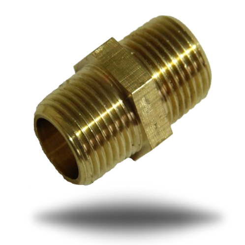 4048 Brass Hexagon Equal Nipple 3/8 - 3/8 BSPT