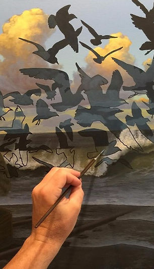 Work in Progress - Surreal painting of birds