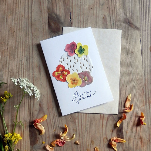 Douces Pensées Greeting Card with Colourful Pansy flowers