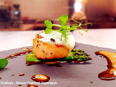 SEARED SCALLOPS ,BISQUE POACHED ASPARAGUS BY CHEF ASHISH