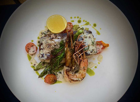 SEARED KING-FISH |PRAWNS |PINK PEPPERCORN SAUCE |ASPARAGUS |BY CHEF ASHISH