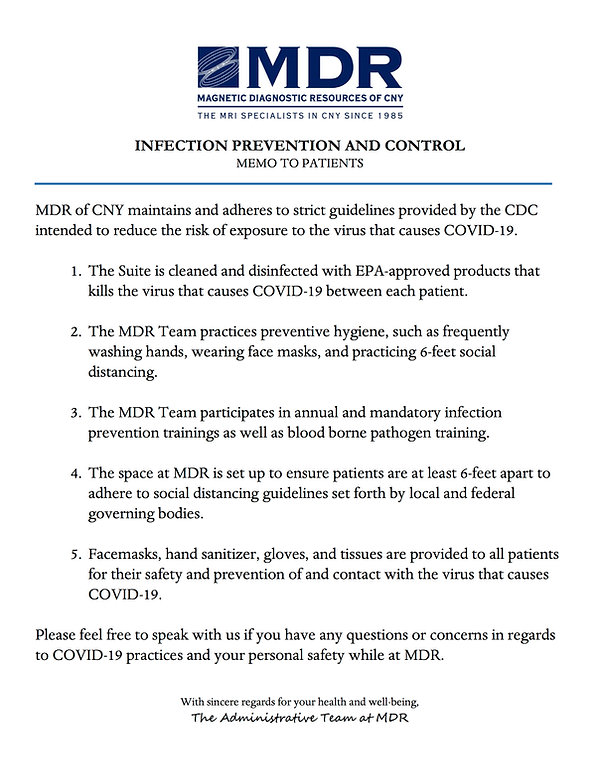 MDR Infection Control Memo to Patients.j