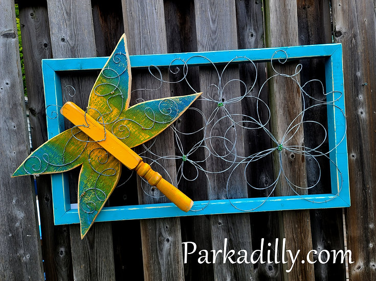 Dragonfly and Garden Flowers