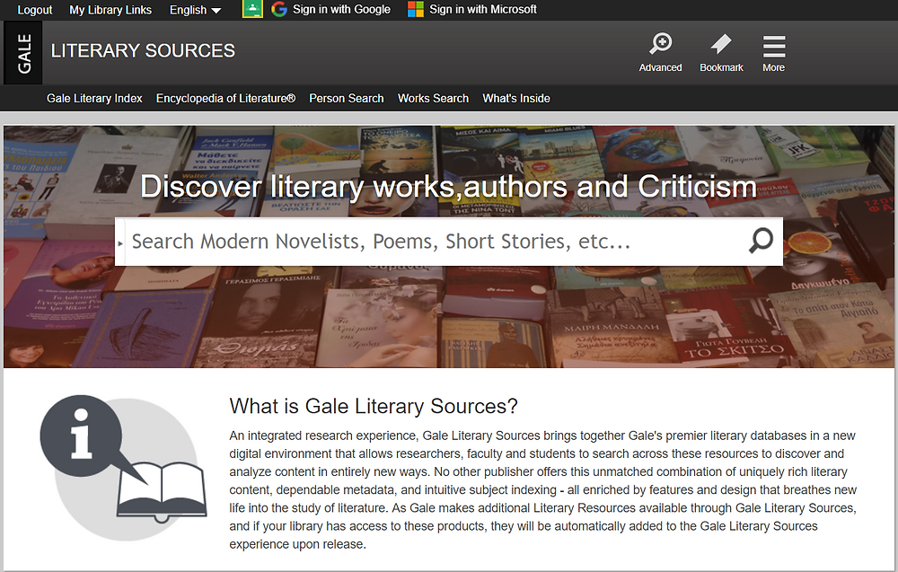 Search interface of Gale Literary Sources database