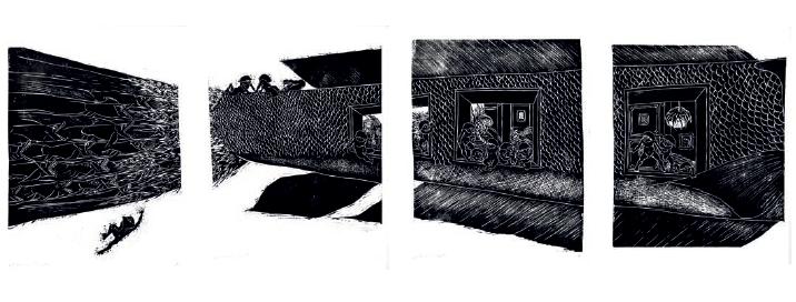 8 Woodcut Prints - Fish and Children