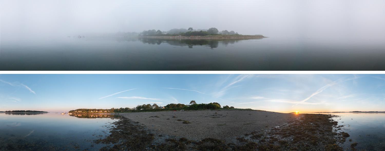 SandyPoint High Tide in Fog ans Low Tide at Sunrise 20130808-0807