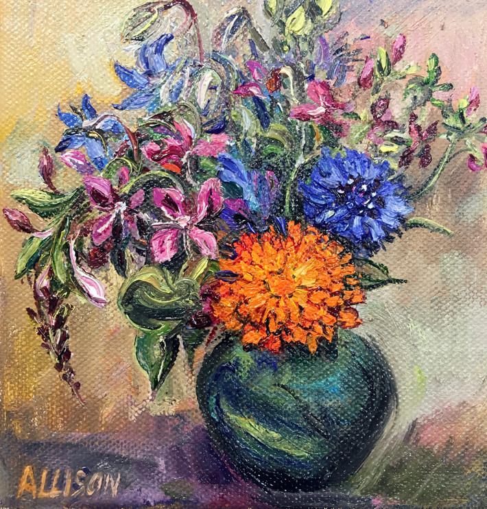 Marigold and Cornflower in a Green Glass Vase By Jane Allison