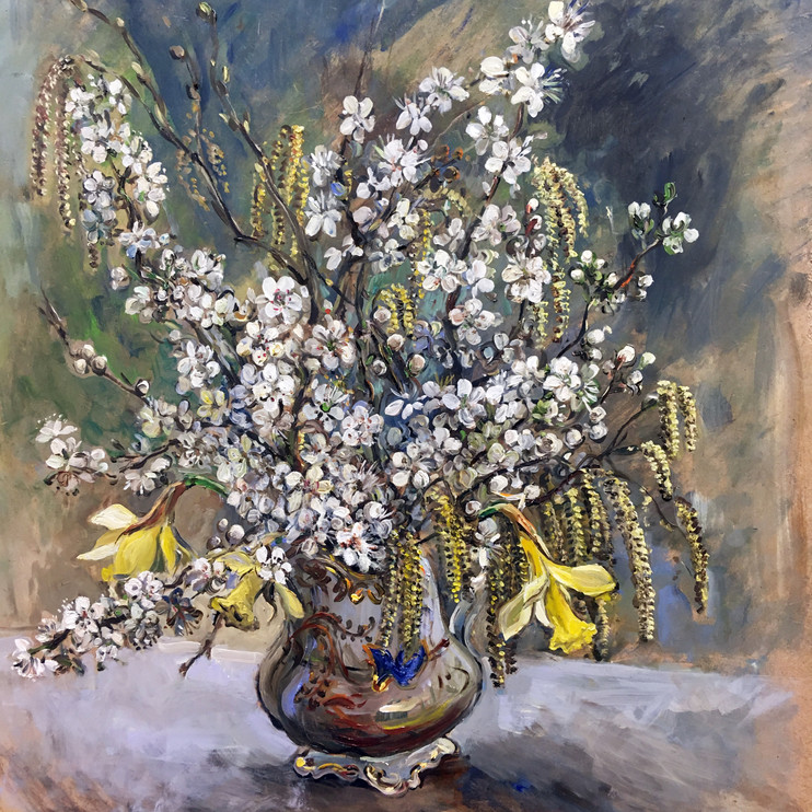 Cherry Blossom, Catkins and Daffodils by Jane Allison