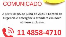 Comunicado: Novo Telefone Central de Urgência e Emergência
