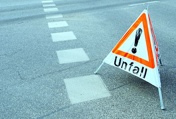 Sign Accident, in German language Unfall