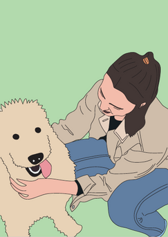 Dog and owner portrait with colour