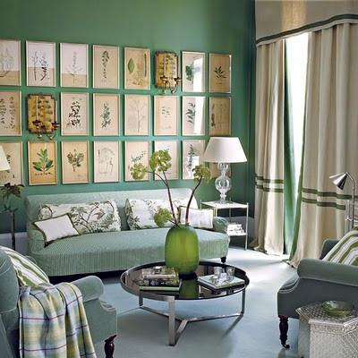 living-room_vintage-framed-botanicals-wall-art-grouping-green-ticking-velvet-ivo