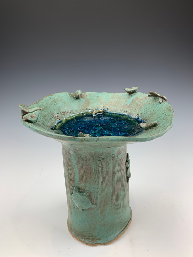 """""""Bird Bath with Melted Marbles"""""""