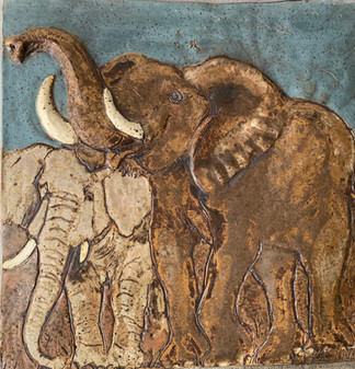 "Fireplace Installation ""Elephants - Mother & Child"""