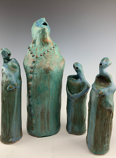 """Choristers"" clay sculpture"
