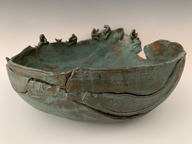 """Children at Play II"" pottery bowl"