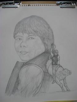Sandra Whitcomb's sketch of Aaron