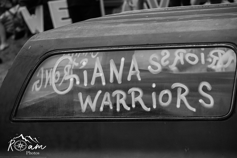 Car with truck painted window Giana Warriors