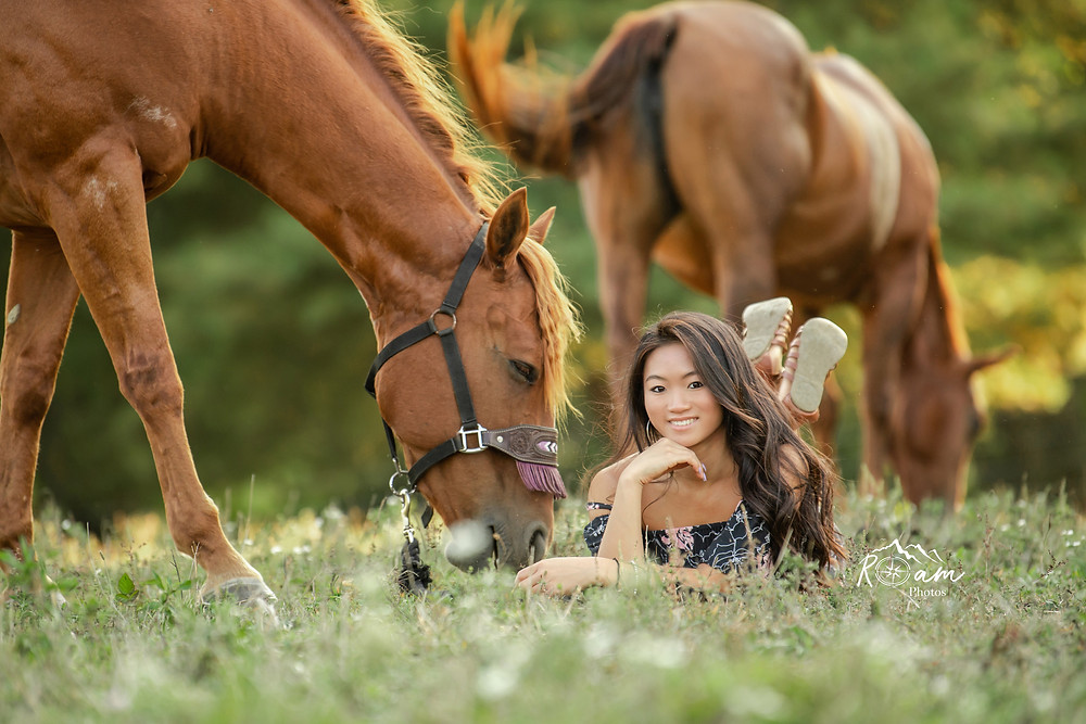Young girl lying in the grass with her horses grazing around her.