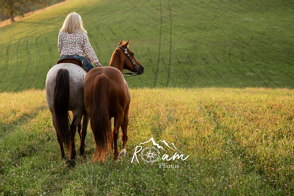 Woman riding off into the sunset with her horses.