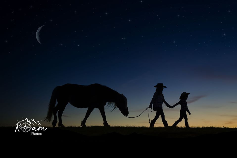 silouette little cowgirls and pony