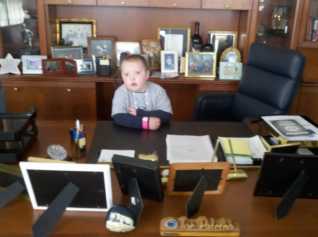 Trenton in Joe Pa's office.