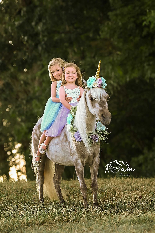 Two little girls sitting on a pretty little pony unicorn