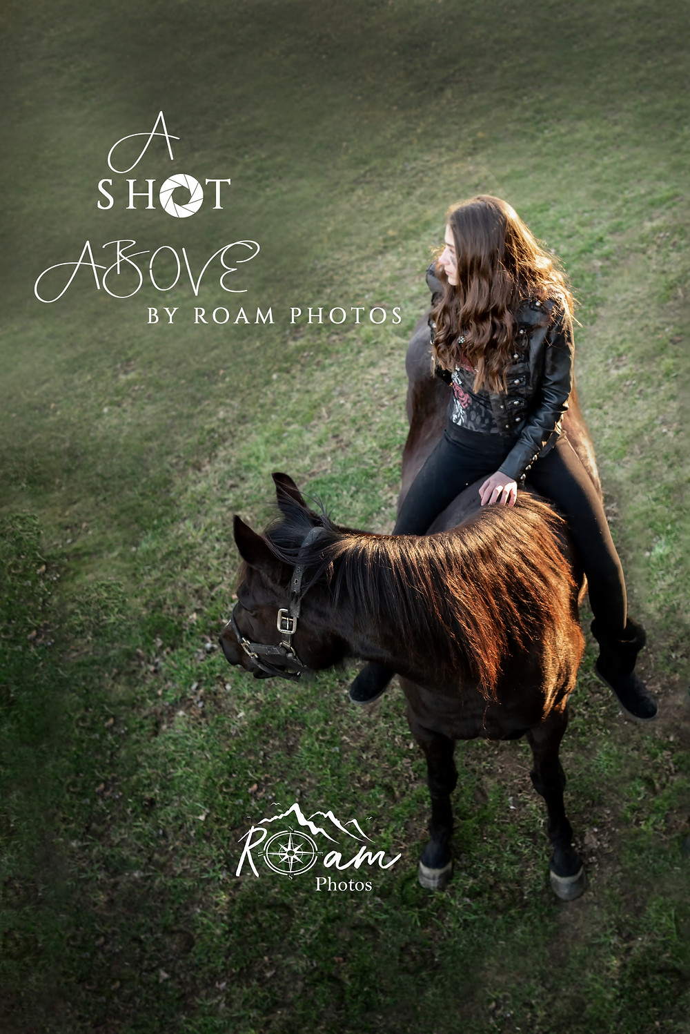 A Shot Above of girl on horse