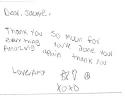 Note Jackie Received from Amy