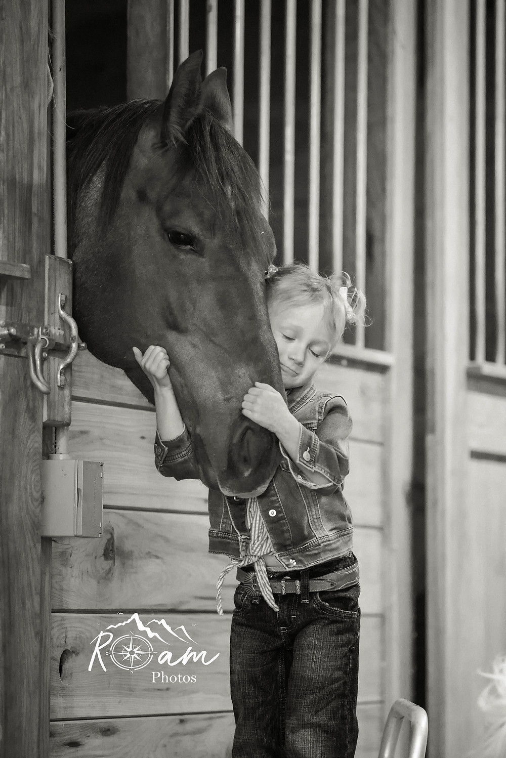 Little girl on a chair hugging a horse.