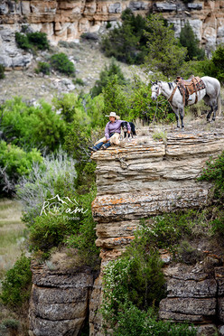 Cowgirl sitting on the edge with her horse and dog - Pittsburgh Equine Photographer