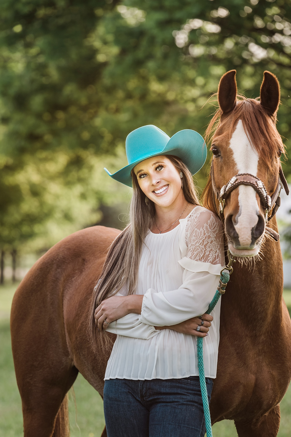 Pretty cowgirl and her horse