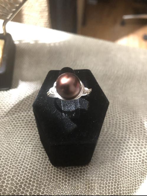 Dark Chocolate Pearl Ring